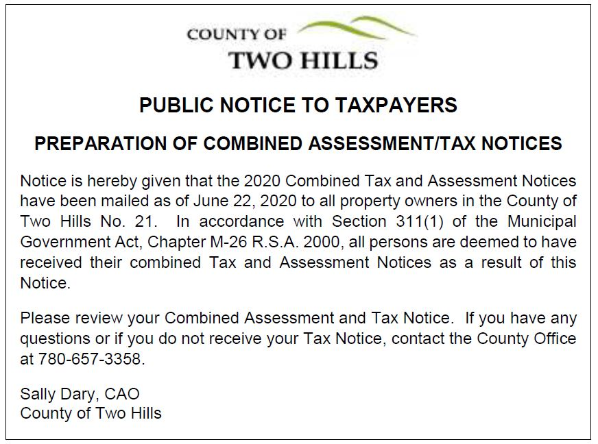 2020 tax notice to ratepayers